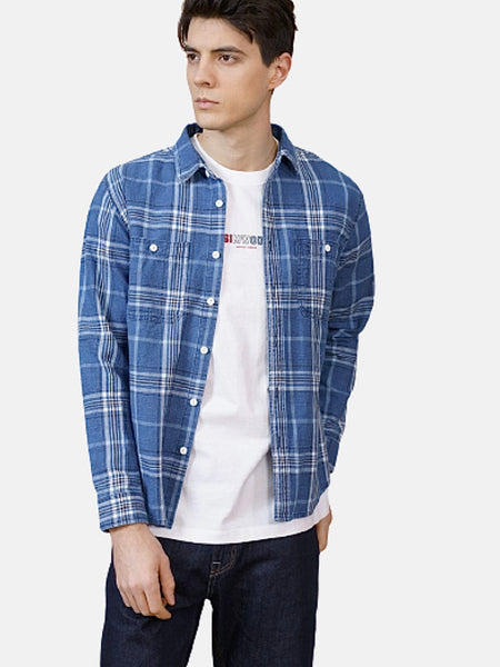 Classic Shirt in Untucked Fit        100% cotton blue plaid check turn-down collar plus size Mens shirts Trend