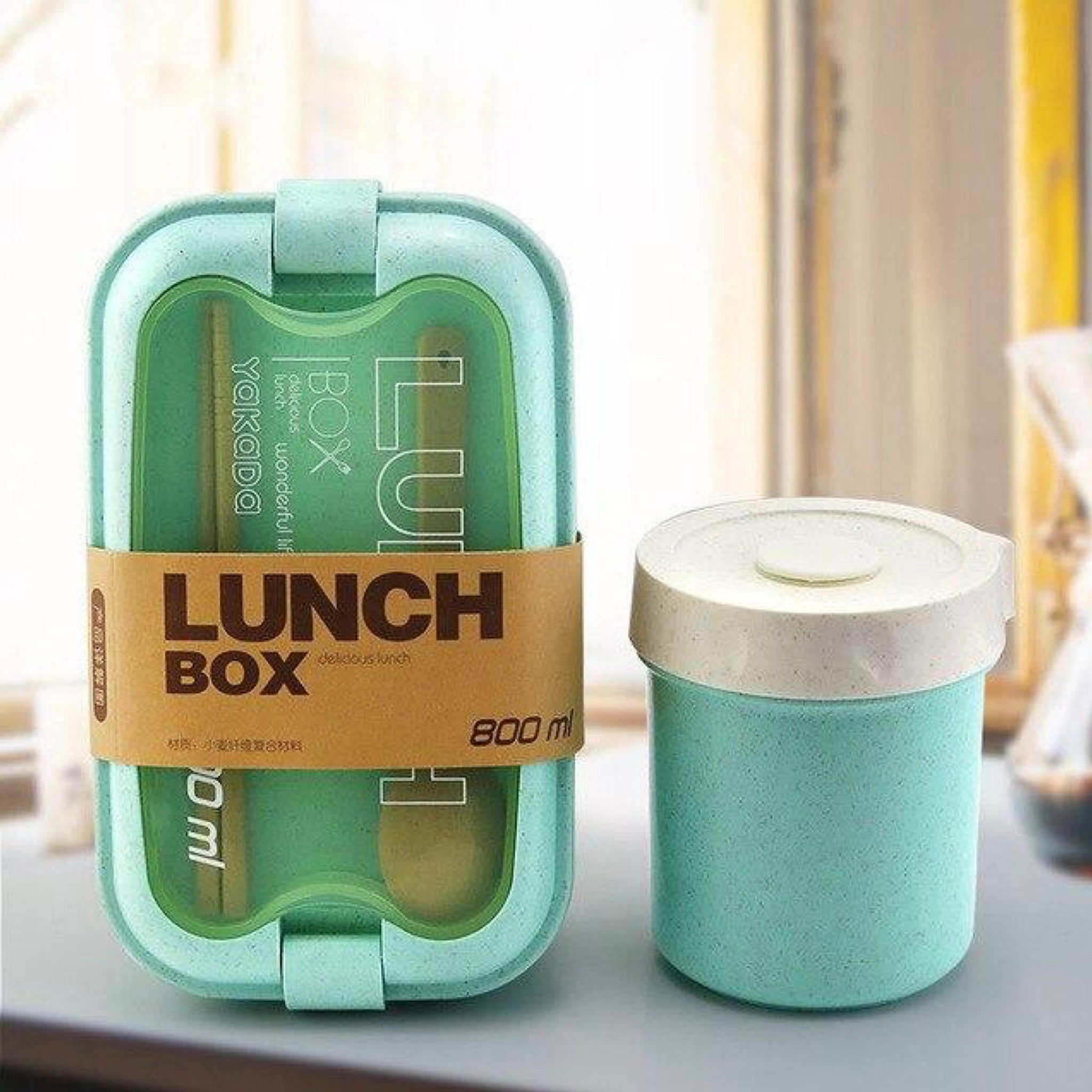 Wheat Straw Lunch Box Set   Portable Eco Friendly Bento Boxes with Tableware Large Capacity Outdoor Lunchbox Soup Box color Green Trend
