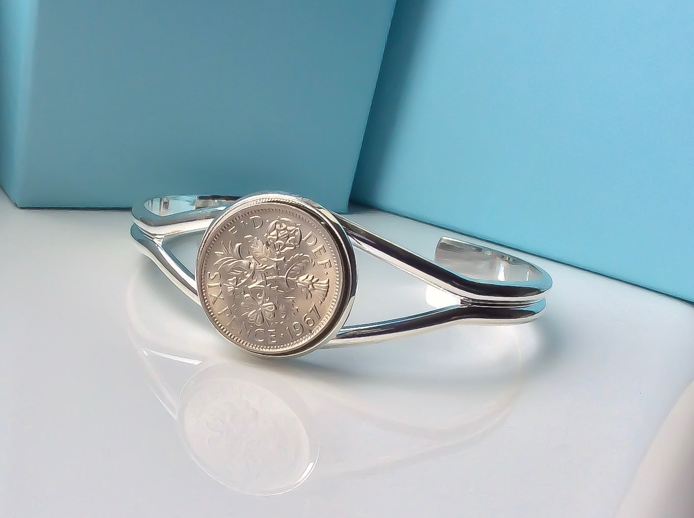 Luxury Handmade Lucky Sixpence British Coin Bracelet Jewelry Choose Your Year Fashion Coin Bracelets Jewellery Style D