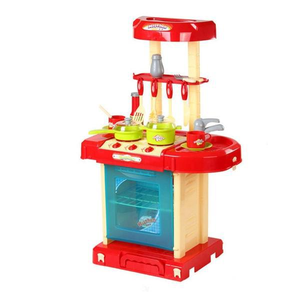 Pretend Play Red Kitchen Set Child Toy Gender Neutral Boy Girl Kids Minature Portable Cooking Sets Style R