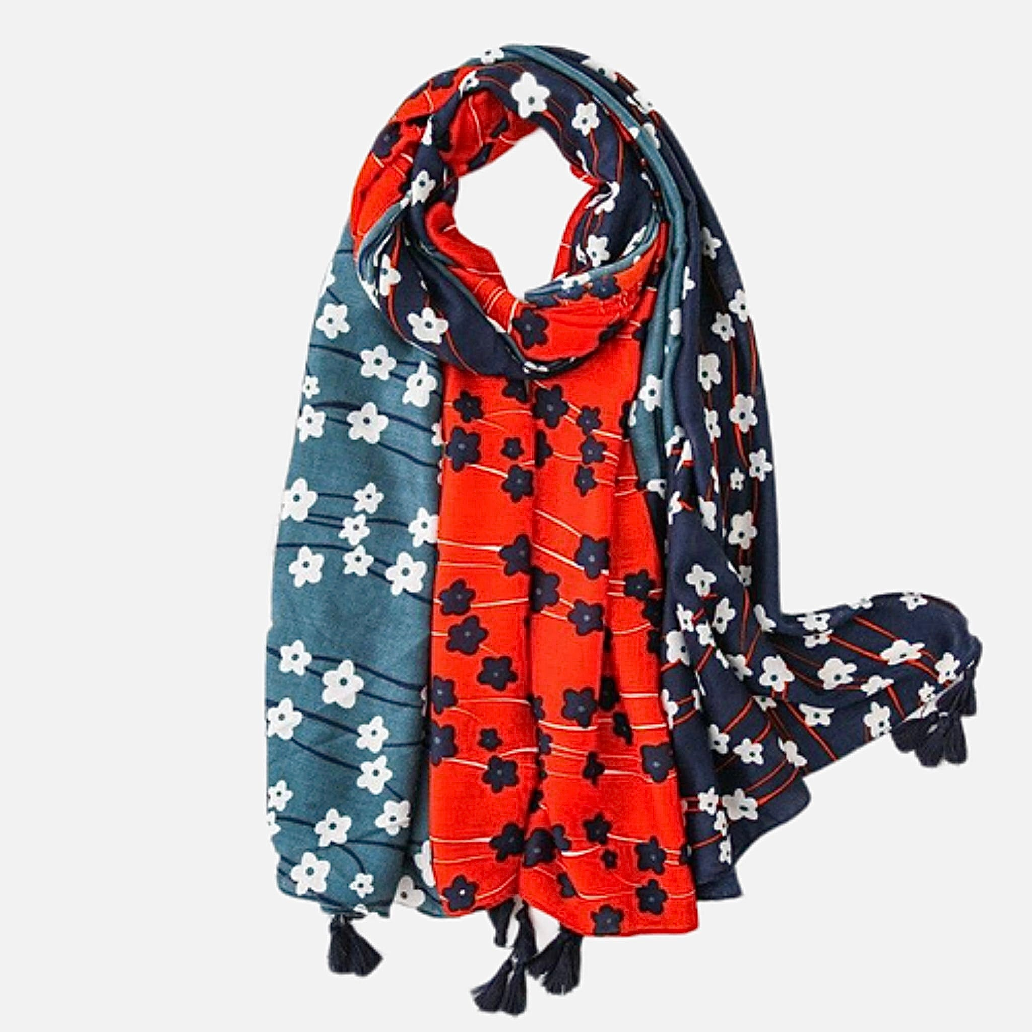Polka Flower Viscose Scarf        Luxury Black Long Shawl and Echarpe print Beach Stole Women's Scarves