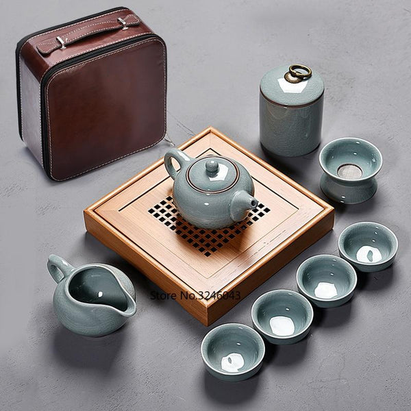 9 piece Japanese Ceramic Travel Tea Sets