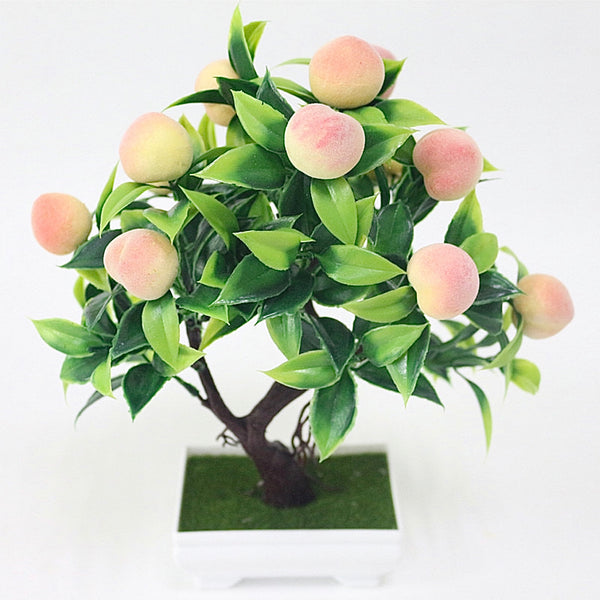 Artificial Potted Peach Bonsai Foam Fruit Tree Mini Potted Fake Plastic Plants for Party Home Decoration Accessories Trend