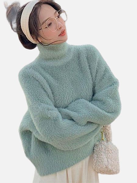 Cozy Turtleneck Sweater    Long Sleeve Sweaters Green Knit Loose Jumper Women's Pullover Sweaters Trend
