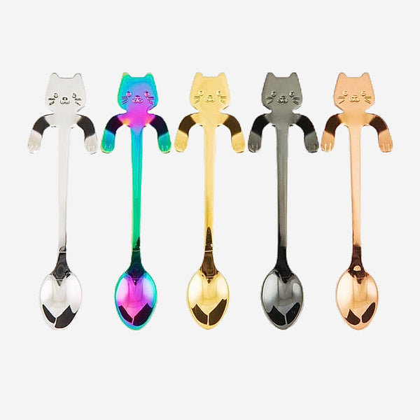 Happy Cat Stainless Steel Spoons 5 Piece Set Coffee Spoon Teaspoon Dessert Snack Scoop Ice Cream Tableware Kitchen Accessories Trend