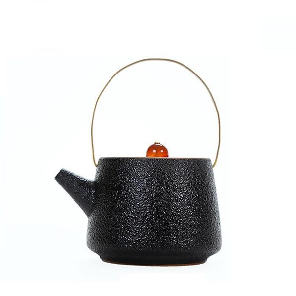 220ML Japanese Classic Vintage Black Ceramic Teapot Kettle Rough Pottery Cha Hai Teapot with Creative Handle Lid Home Coffee Kettles Family Gifts