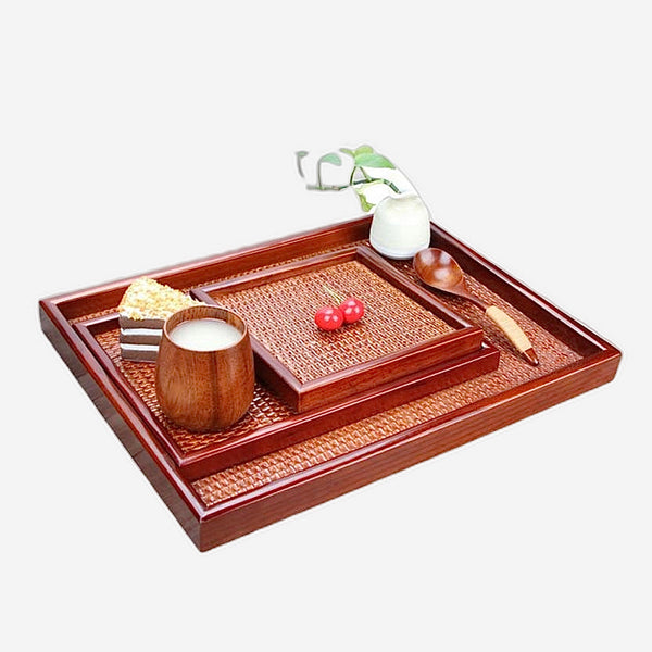 Rattan Wooden Kung Fu Tea Tray Set Handmade Japanese Rectangular Plate + Creative Fruit Plate + Serving Tray Japan Tea Ceremony Accessories Trend