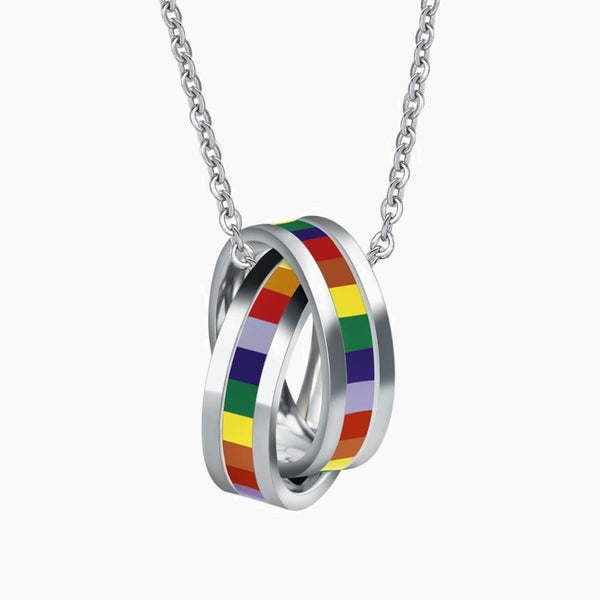 Rainbow Rings Charm Necklace Jewelry Titanium Stainless Steel Lesbian Gay Pride LGBT Necklaces & Pendants Jewellery Trend
