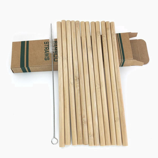 12 Piece Set Bamboo Drinking Straws Reusable Eco-Friendly Party Kitchen + Cleaning Brush Trend