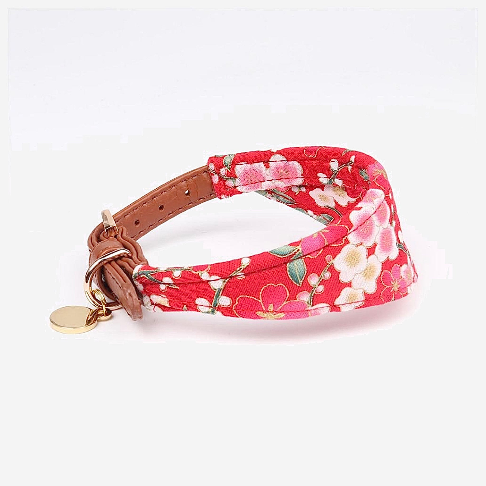 Japanese Bandana Pet Collar    Made of leather buckle design fine workmanship triangle scarf Japan pets supplies for cats and dogs Red Cherry Blossom Trending Stye