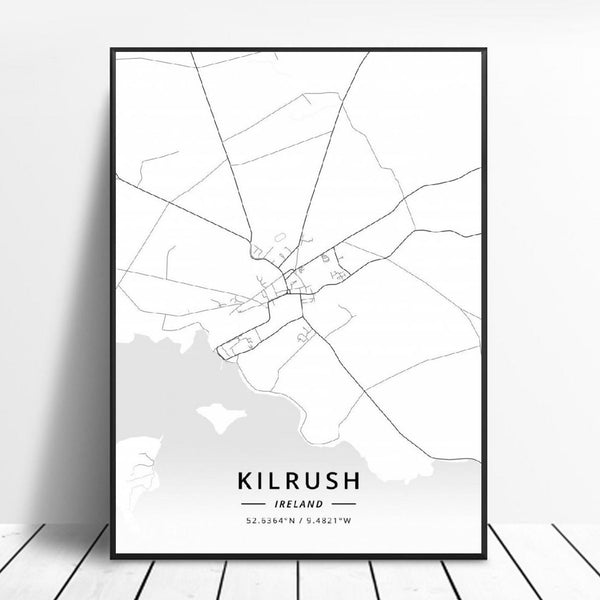 Kilrush Ireland Canvas Art Map Poster Irish Wall Art Home Decor Trend