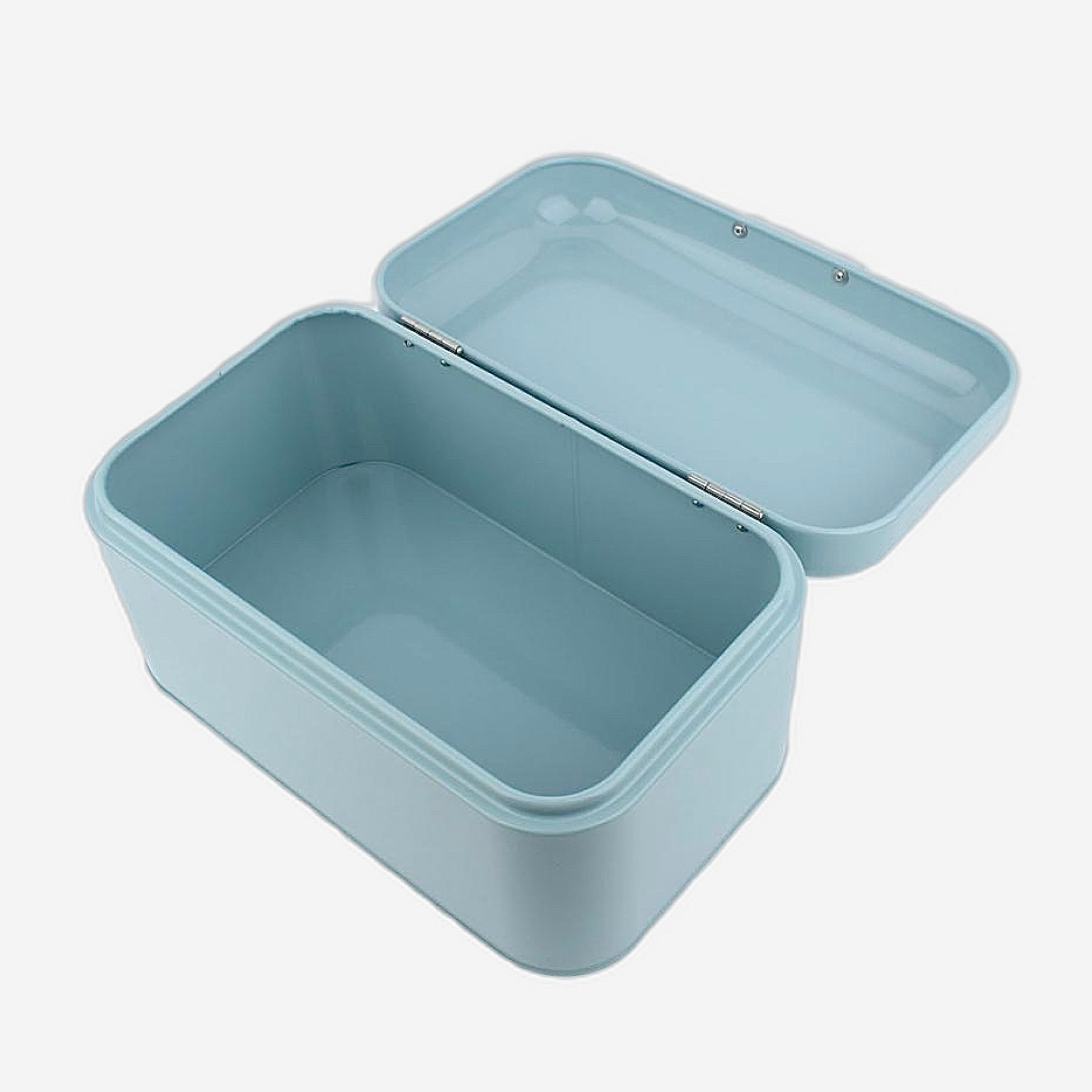 Retro Light Blue Metal Bread Box Bread Storage Organizer Boxes Solid Color Large Capacity Bin Kitchen Storage Container Details