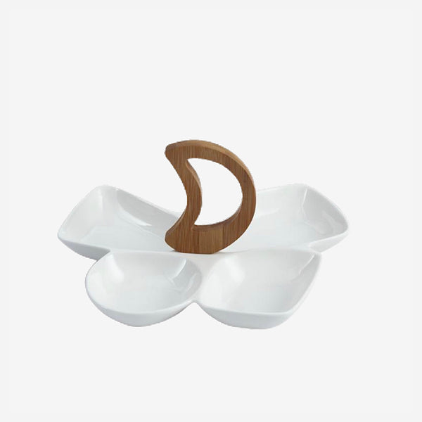Creative Porcelain Divisions Serving Dish Set Decorative White Ceramic Chip and Dip Dinner Plate Centerpiece Tableware Vessel Kitchen Accessories Trend