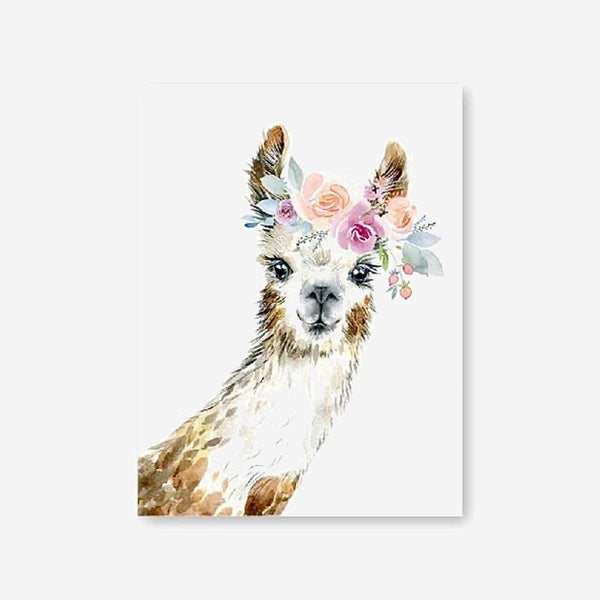 Llama Alpaca Wall Art Floral Crown Animal Llama Peekaboo Canvas Painting Watercolor Home Decor Nursery Decorative Picture Print Trend