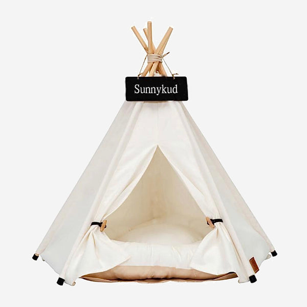 Teepee Pet Tent with Thick Cushion   House Cat Bed Portable for Dog Puppy Excursion Outdoor Indoor use Trend White
