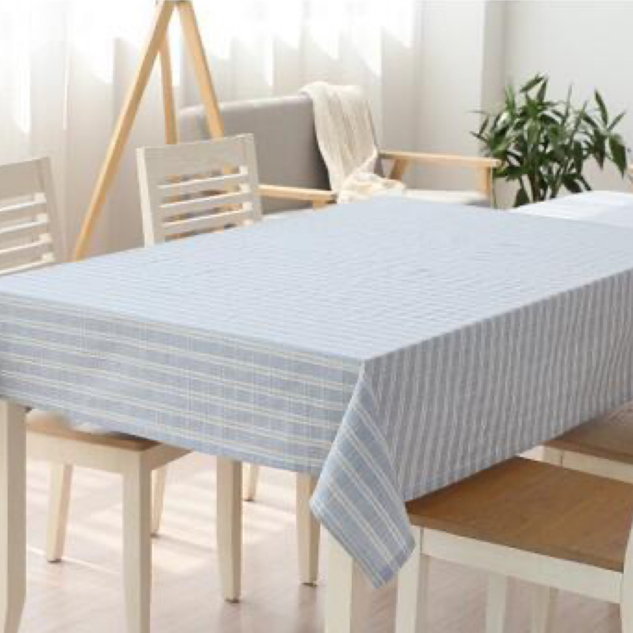 Japanese Blue Plaid Cotton Linen Tablecloth Trend