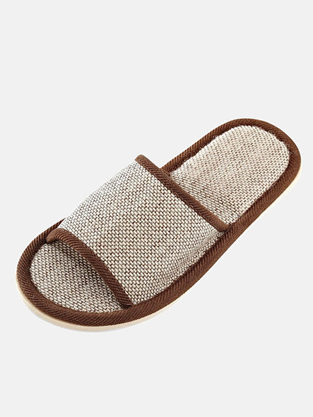 Gingham Hemp Slippers       Natural chocolate flax silent slippers House wear women men shoes Trend