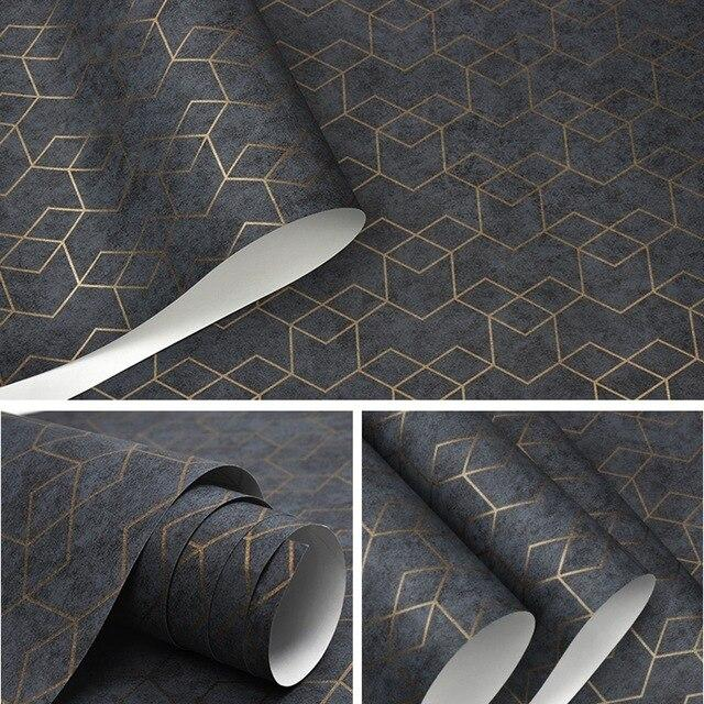 Luxury Geometric Wallpaper Roll Black with Gold trim Wall Paper Modern Design Bedroom Living Room Background Home Wall Decor Details