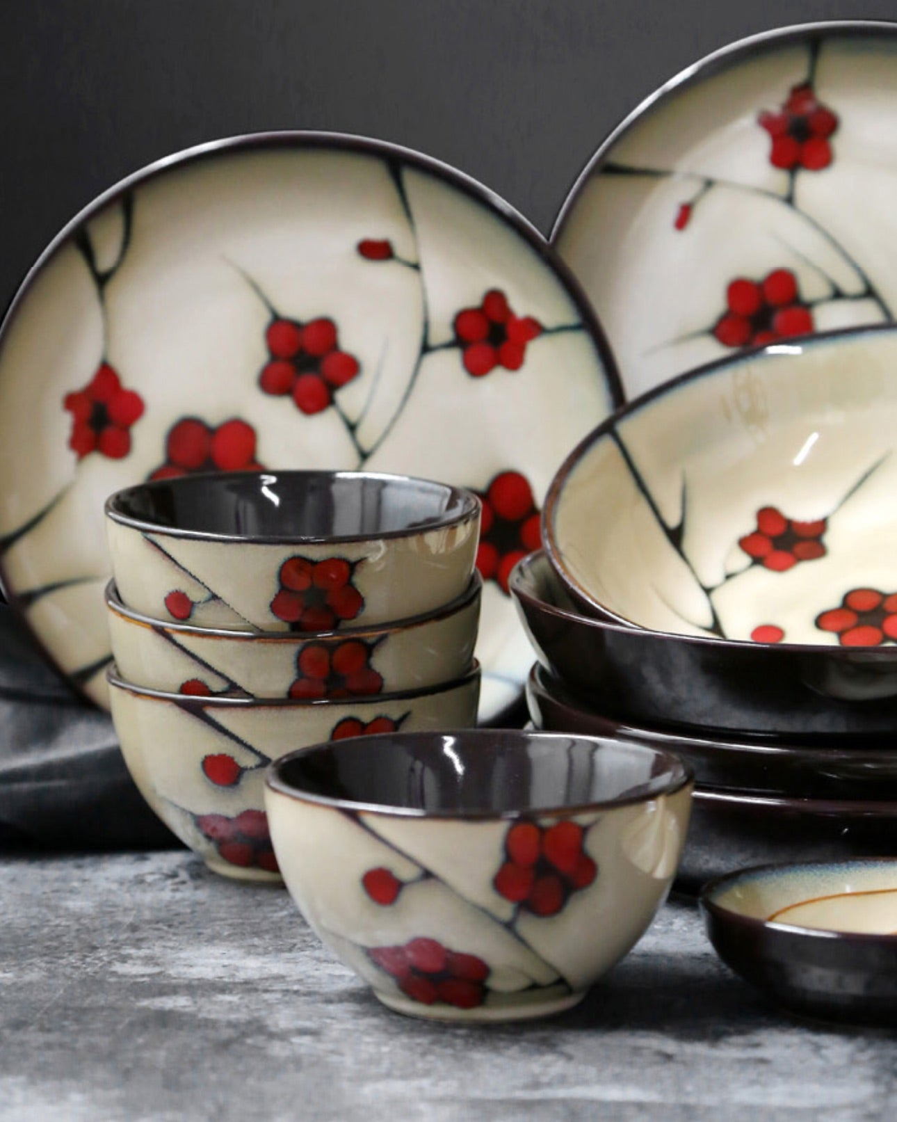Japanese Red Plum Porcelain Bowls and Dishes Tableware Japan On-Glaze Ceramic Dinnerware Dinner Sets JPN Style J