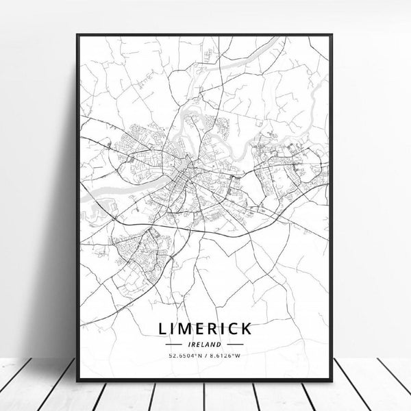 Limerlck Ireland Canvas Art Map Poster Irish Wall Art Home Decor Trend