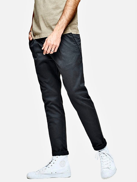 Vintage Khakis in Slim Fit      Casual Solid Dark Gray / grey color Cotton Classic Long Slim Fit Straight Khaki Pants Men's Work Trousers Trend