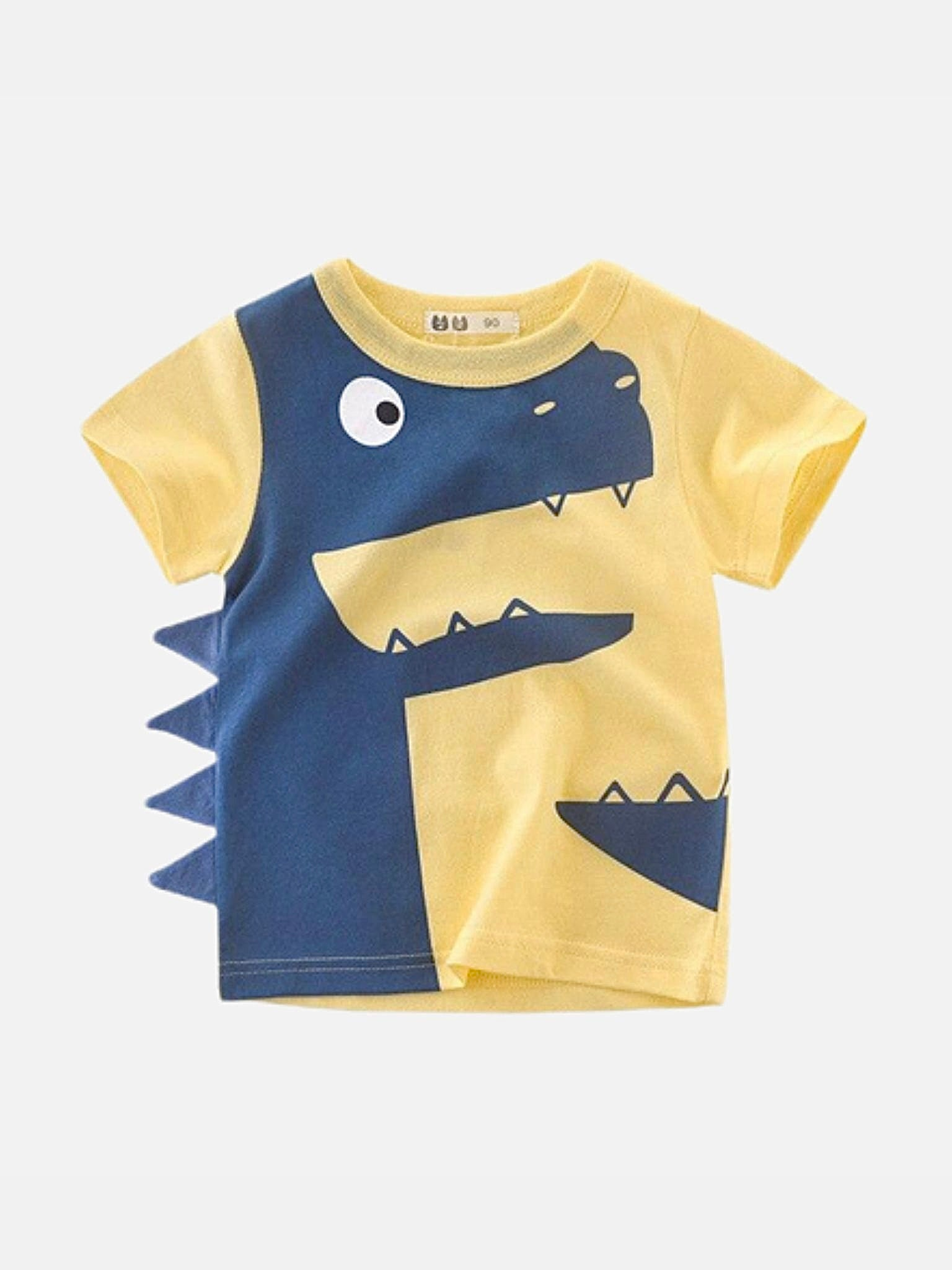 Toddler Crewneck T-Shirt      Dinosaur cartoon yellow short sleeve infant tshirt tee Trend