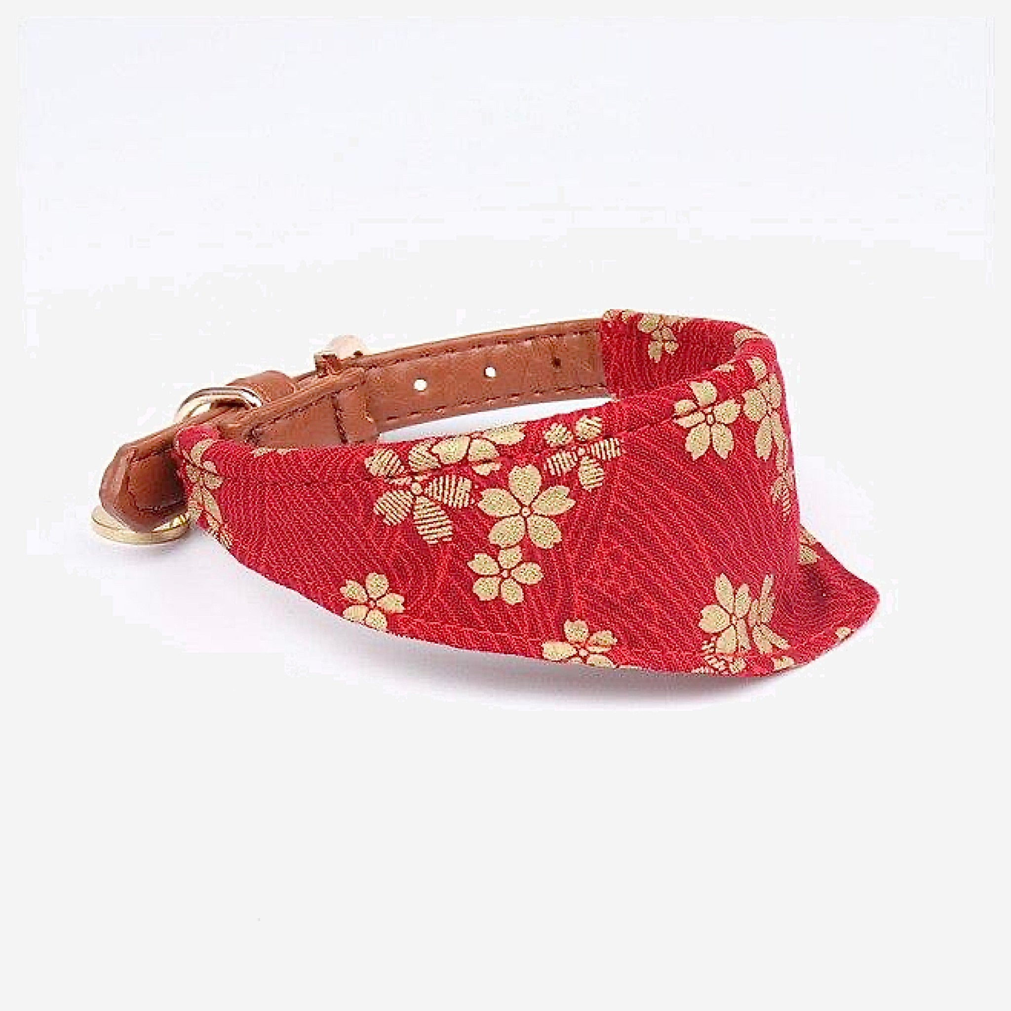 Japanese Bandana Pet Collar    Made of leather buckle design fine workmanship triangle scarf Japan pets supplies for cats and dogs Red Cherry Blossom Trend