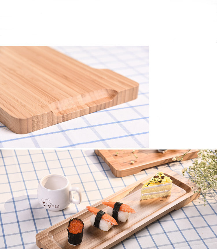 Rectangle Bamboo Sushi Tray Dishes Tea Dinner Plate Party Serving Trays Style G