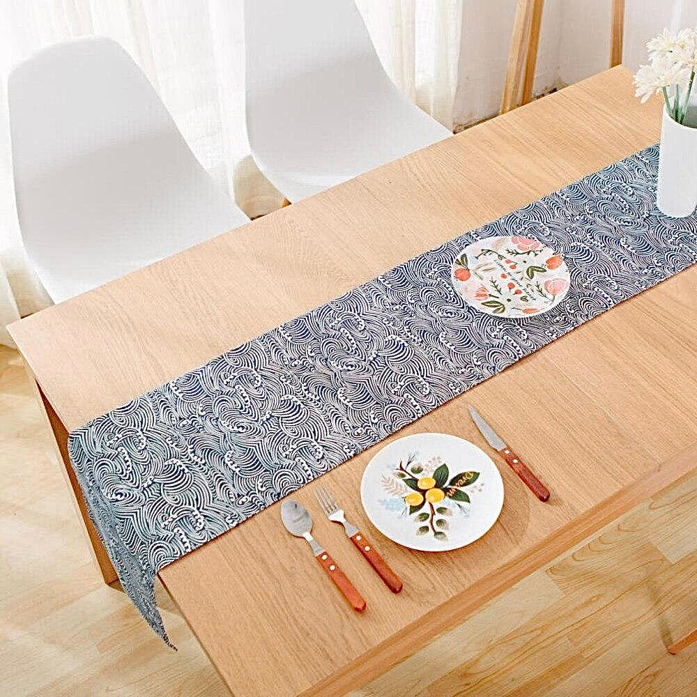 Japanese Zakka Spray Cotton linen Table Runner Trend