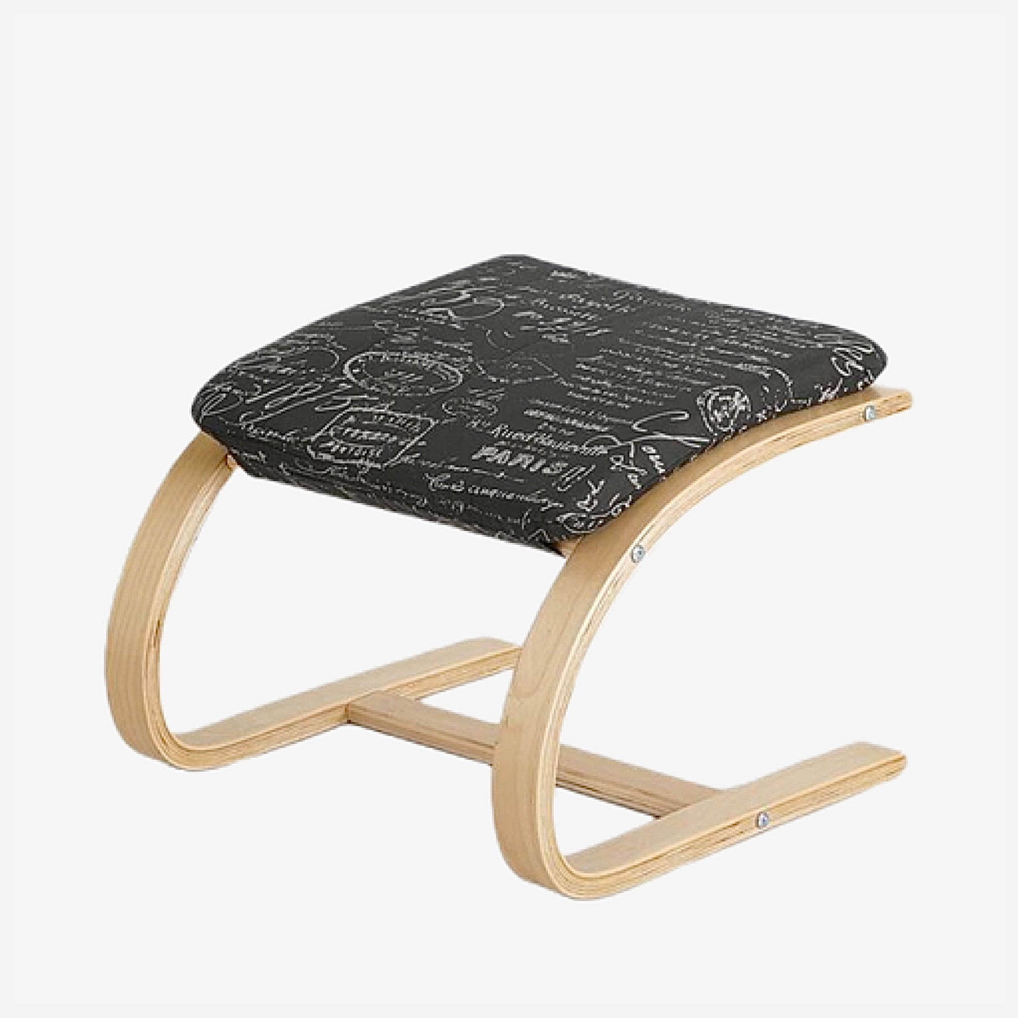 Contemporary Wooden Footstool Comfortable Fabric Cushion Ottoman Chair Small Plywood Wood Footrest Stools Furniture Trendy