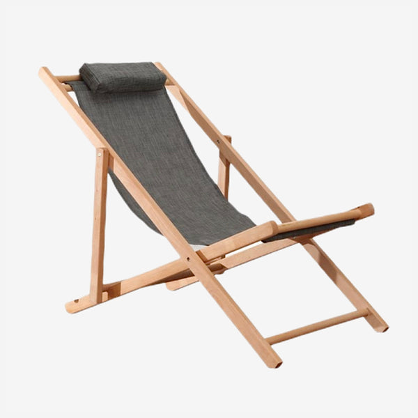 Adjustable Patio Sling Chair Natural Beech Wood Frame Portable Gray / Grey Wooden Beach Folding Adjustable deck chairs Outdoor Chaise Lounger Trendy