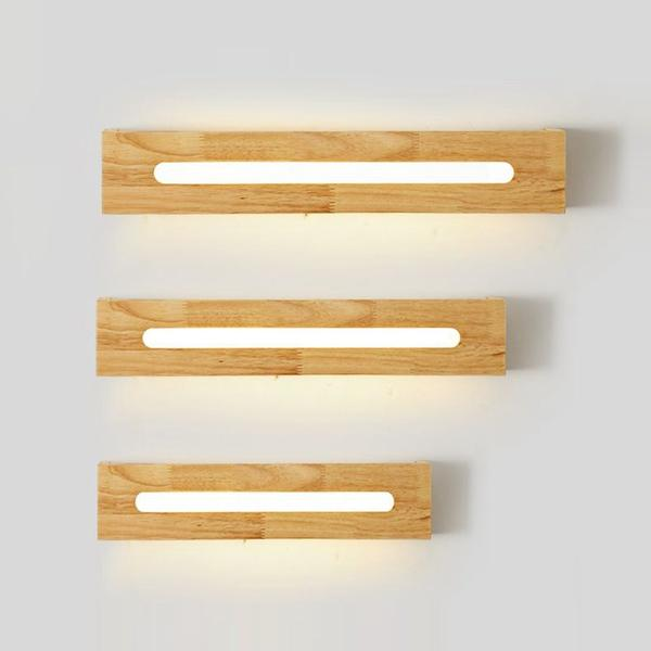Luxury Japanese LED Wooden Bathroom Wall Lights Mirror Front Bedroom Bedsides LED Wall Sconce Cabinet Japan Corridor Wall Lighting Fixtures