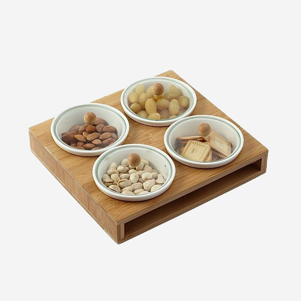 Ceramic Condiment Bowls With Glass Lid Bamboo Boxed Tray Decorative Assorted Convenience Organizer Storage Box Tableware and Houseware Kitchen Utensil Trend