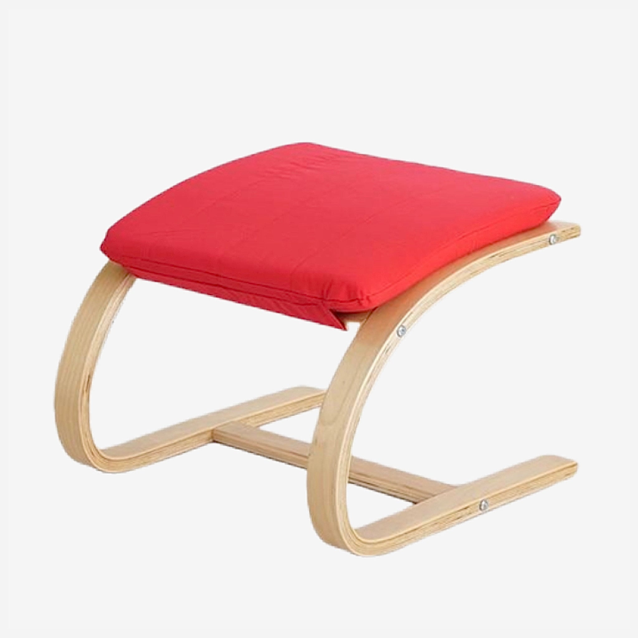 Contemporary Wooden Footstool Comfortable Red Fabric Cushion Ottoman Chair Small Plywood Wood Footrest Stools Furniture