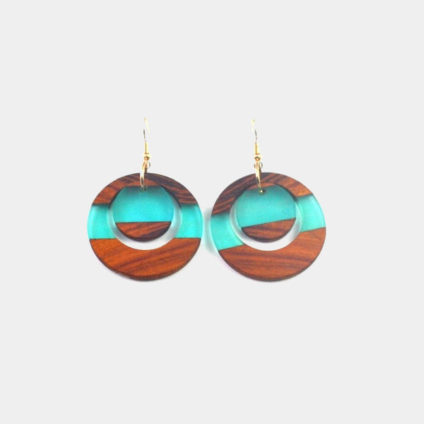 Retro hand-made earrings Wood matching Resin Earrings Fashion jewelry Trend
