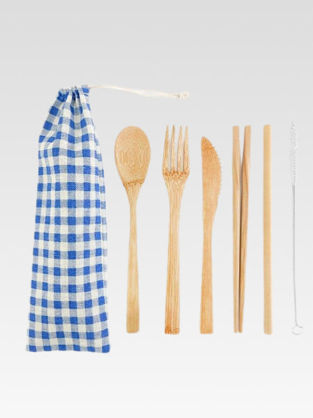 Bamboo Cutlery Set with Cloth Bag 6-Piece       Portable Japanese eco-friendly blue plaid checkered print white drawstring pouch wooden fork spoon knife drinking straw + straw cleaner Japan travel flatware sets Trend
