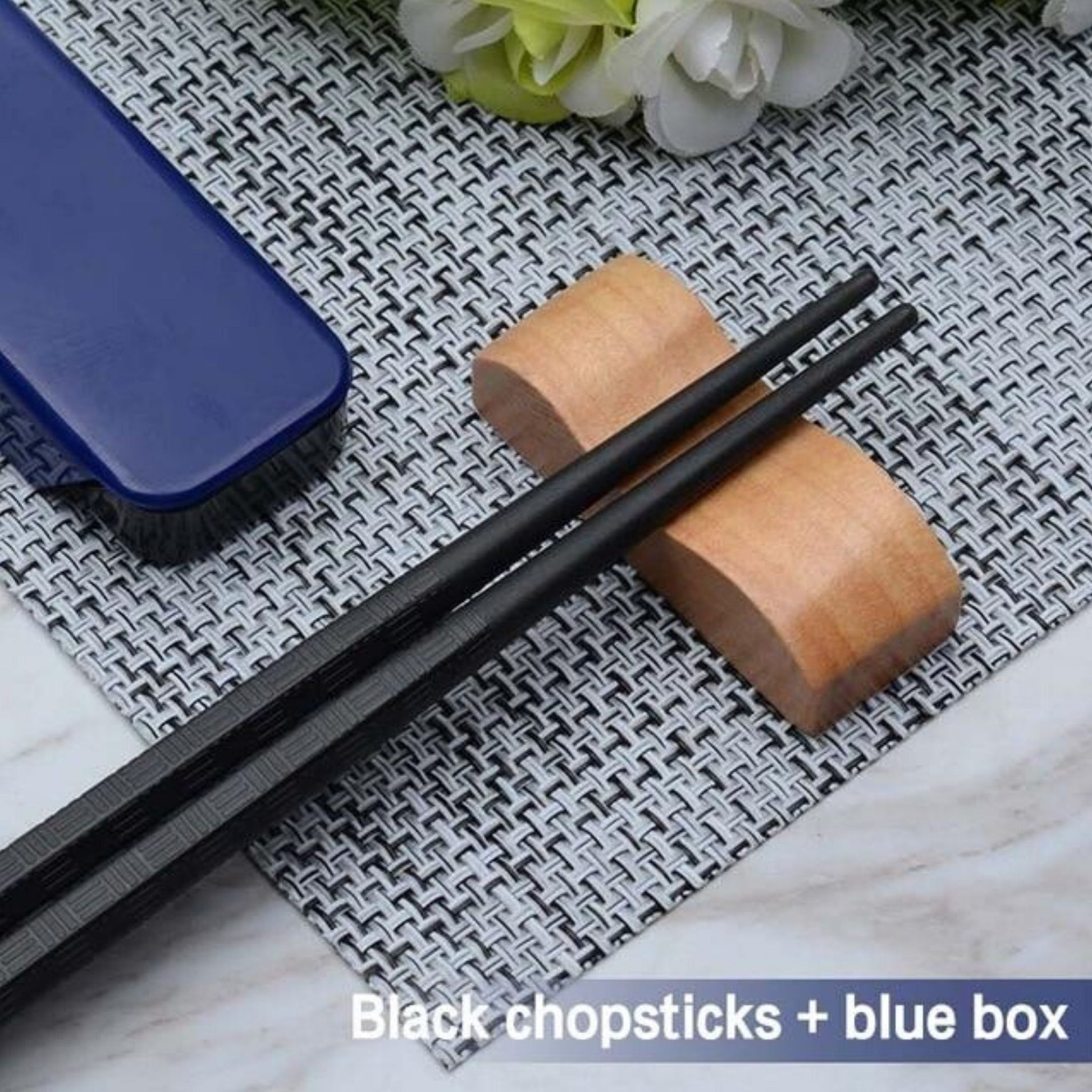 Japanese Travel Black Chopsticks Set with Case Suitable for School Office Camping Traveling Trend