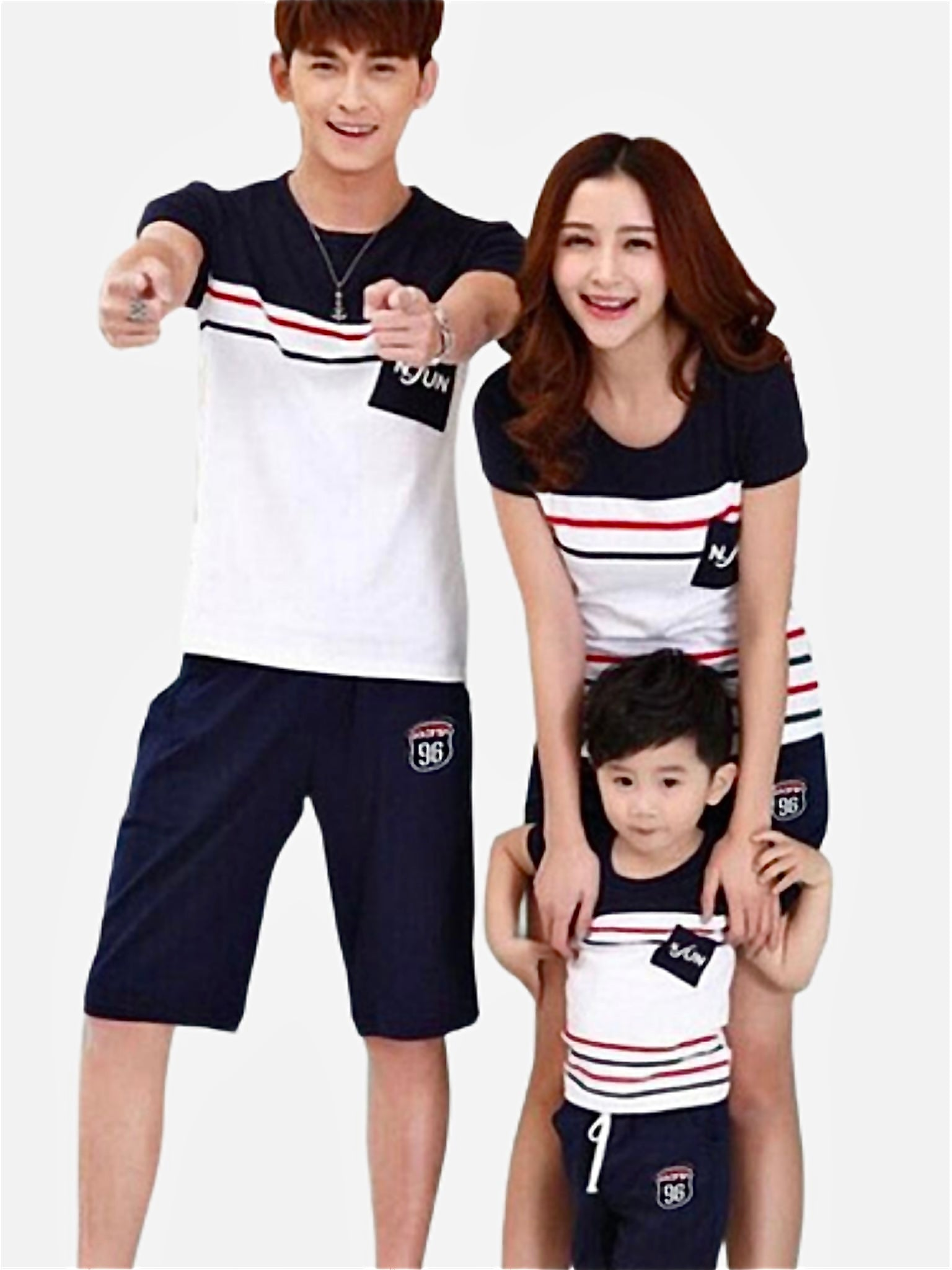 Family Match Outfits   Striped cotton route 96 White T-Shirt and navy blue shorts and midi skirt Matching clothing Trend