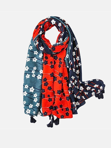 Polka Flower Viscose Scarf        Luxury Black Long Shawl and Echarpe print Beach Stole Women's Scarves Trend