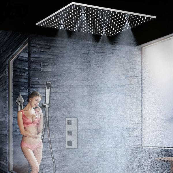 Bathroom Fixture Shower System 20 Inch Led Mist Rain Shower Ceiling Shower Faucet Set Panel Thermostatic Mixer/ Handheld Shower