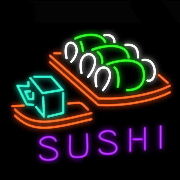 Sushi Japanese Food Neon Sign Customized Handmade Neon Bulb Display Handcraft Iconic Sign Neon Light Sign Glass Home Decor Accessories