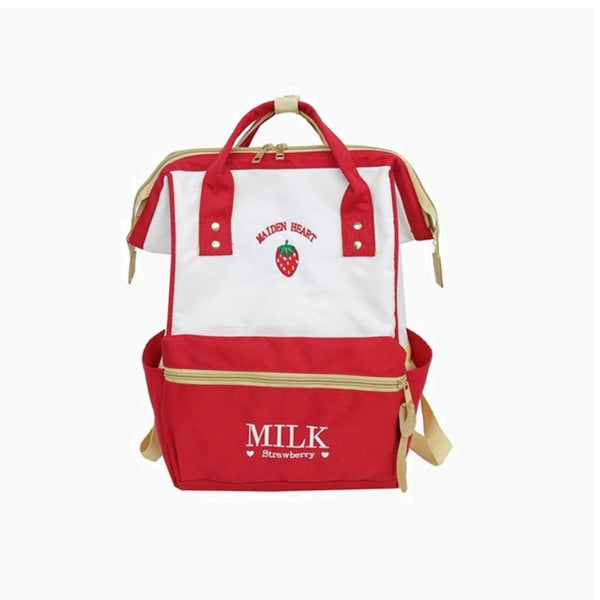Japanese Harajuku Red Strawberry Backpack Cute School Backpacks for Teenager Kawaii Strawberry Clip Laptop Back Pack Japan School Bag Trend