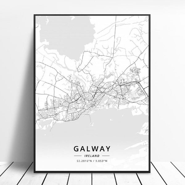 Galway Ireland Canvas Art Map Poster Irish Wall Art Home Decor Trend