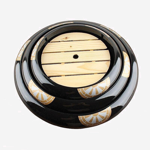 Japanese Seafood Tray    Golden gold black flower sashimi raw fish dish Salmon cuisine fruit dish food round tray rice ball Sushi Bucket Trend