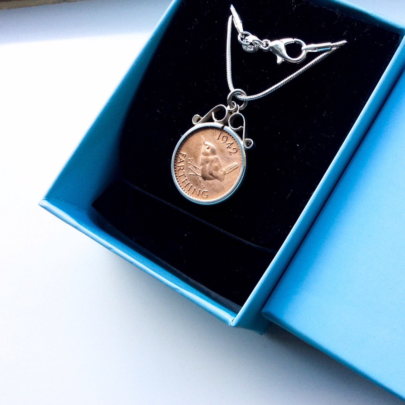 British Penny Farthing Coin Pendant Necklace Choose your year