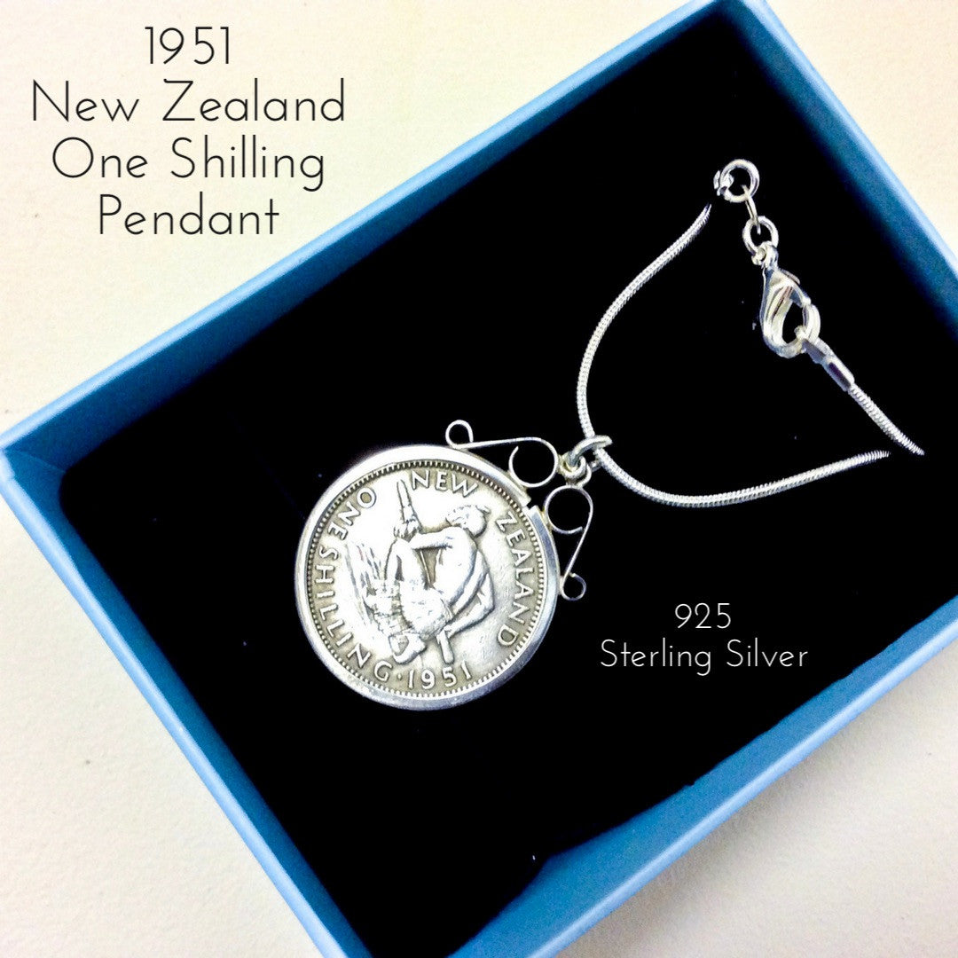 1951 new zealand one shilling coin pendant necklace 925 sterling silver