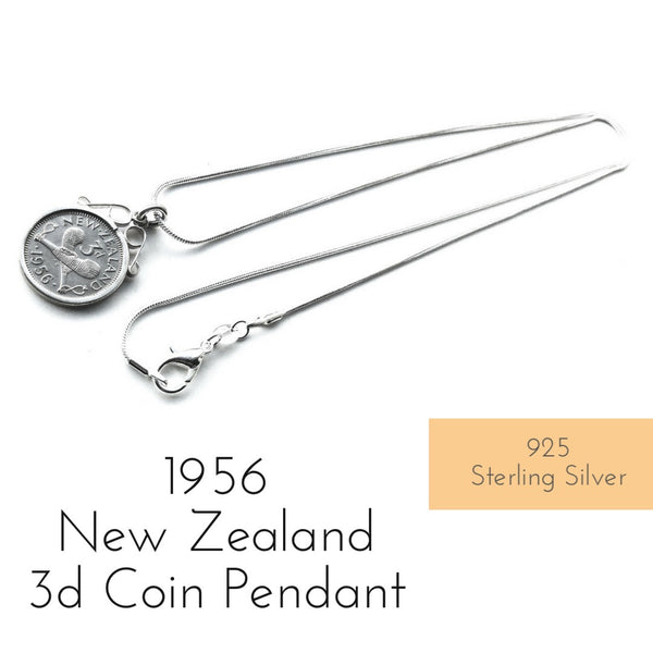 1956 new zealand 3d coin pendant necklace
