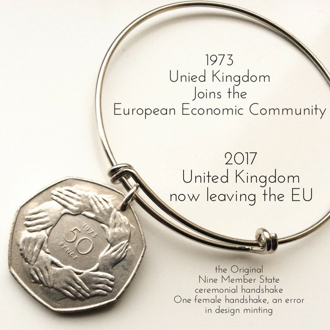 1973 EEC 50 pence british coin bangle