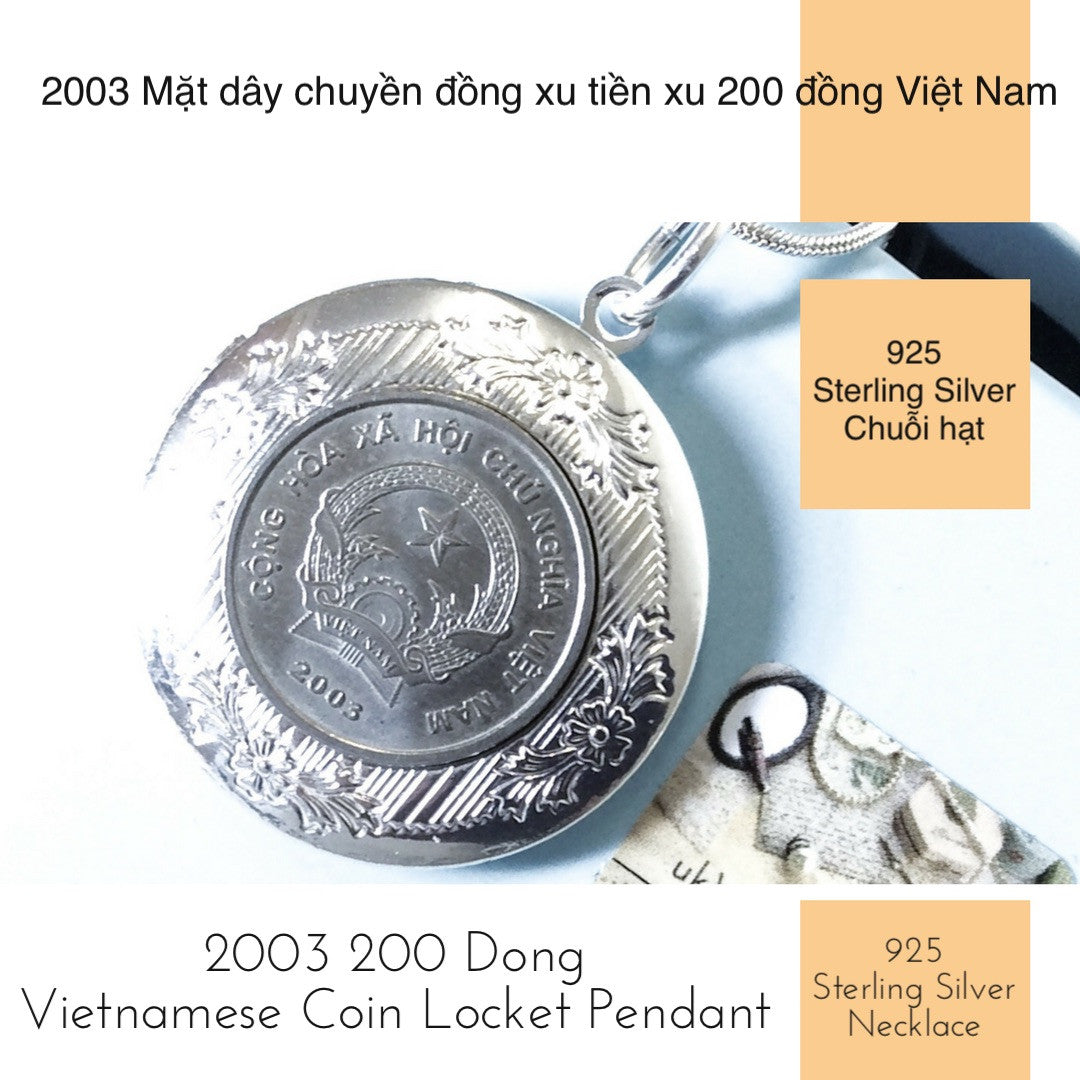 2003 200 dong vietnam coin locket pendant necklace