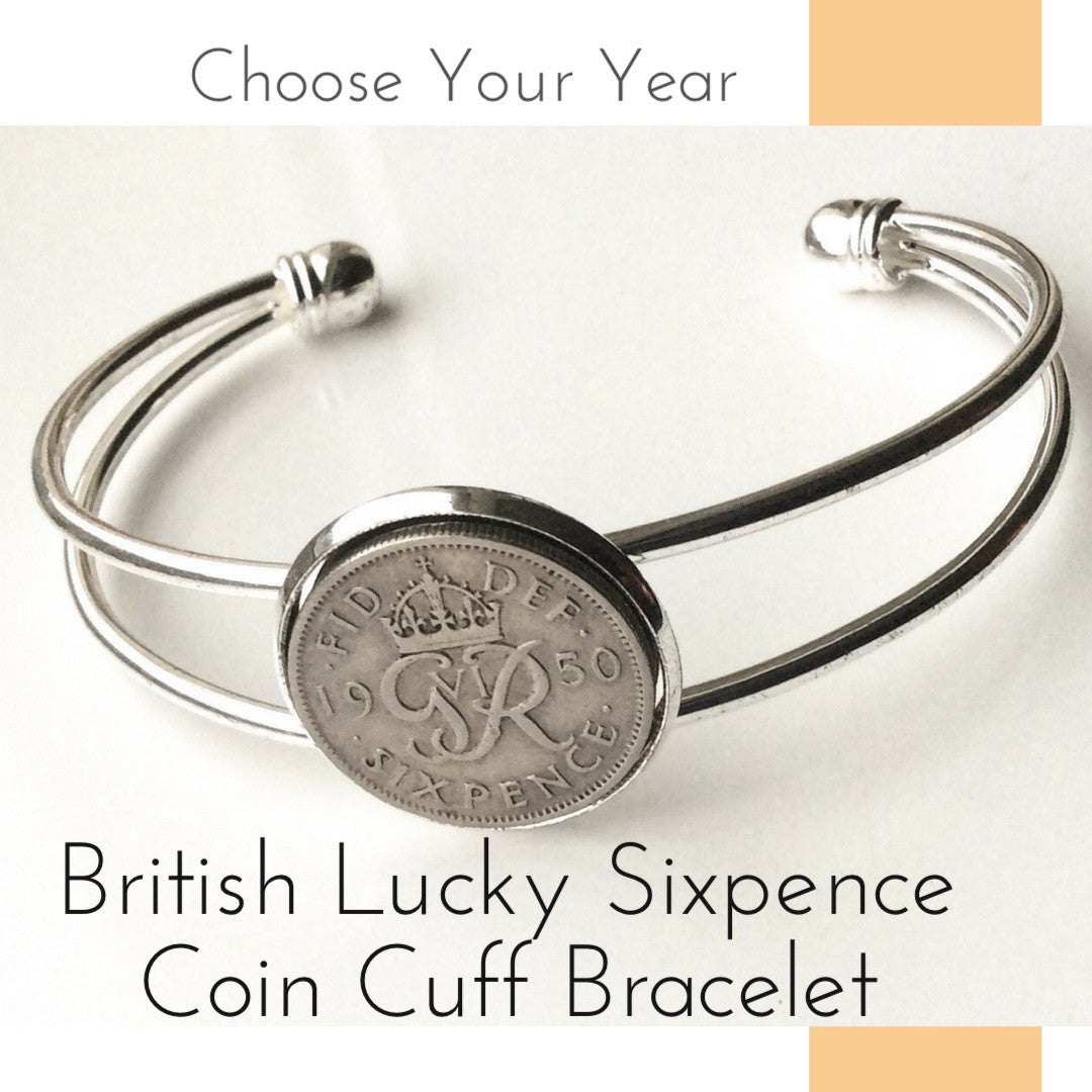 Tanner British Pre Decimal Sixpence Coin Keyring Birthday Gift Choose A Year